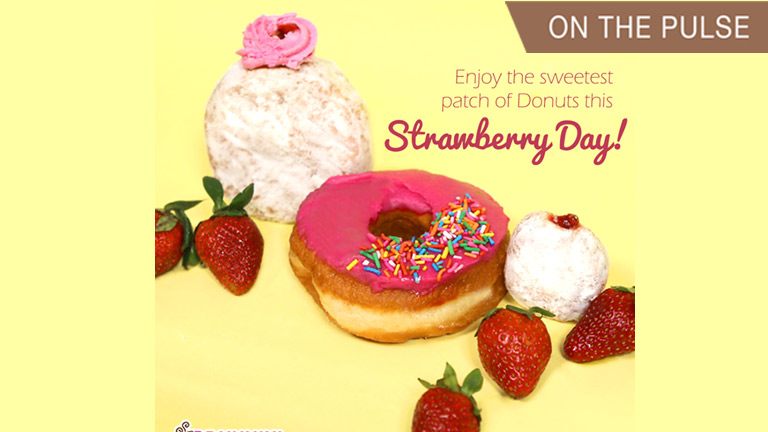 strawberry flavored donuts from Dunkin Donuts