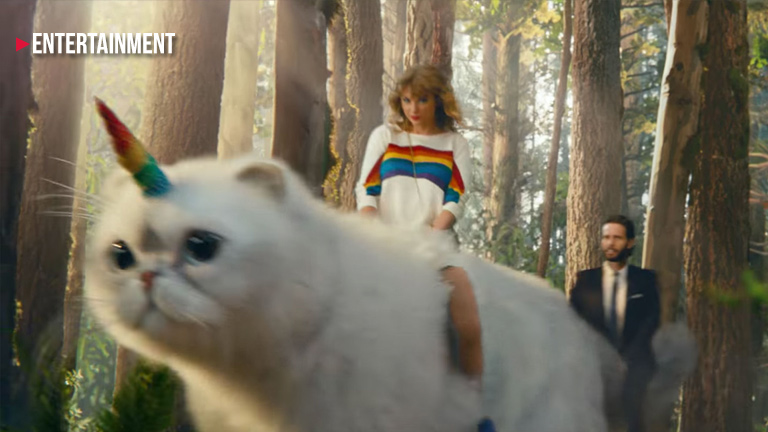 Taylor Swift rides a giant caticorn