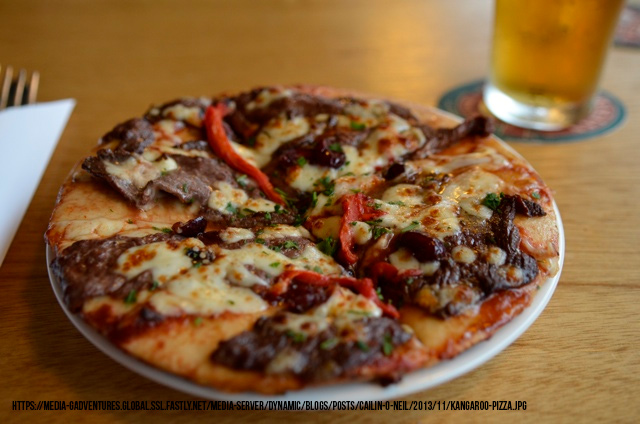 Pizza topped with crocodile, emu, and kangaroo meat